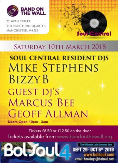 Soul central ft djs mike stephens bizzy b and special guest marcus soul central return to band on the wall for another night of sweet soulful vibes with resident and guest djs playing nu modern soul 80s 90s classic publicscrutiny Images