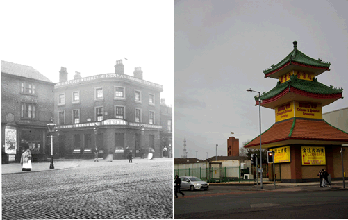 Figure 4 – Photograph of the Briton's Protection, Oldham Road, 1897, and 2012 photograph by Rosanna Freedman of the same site, now occupied by Wing Yip.