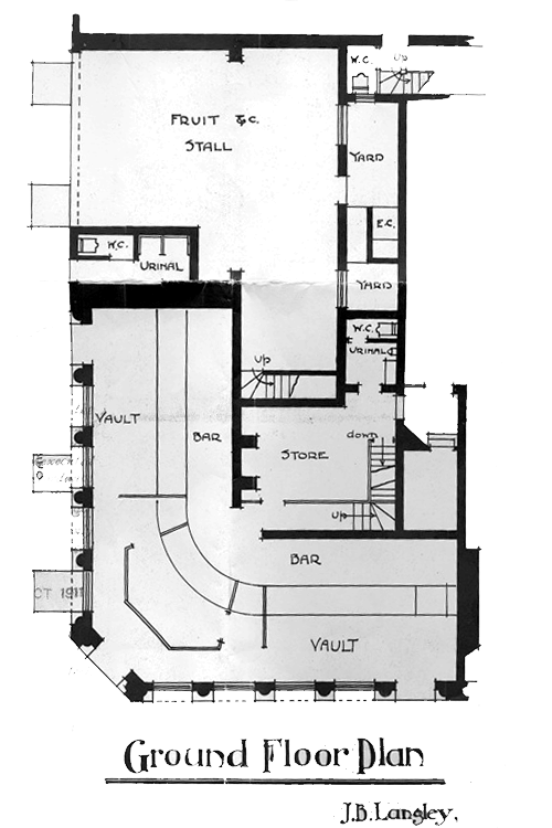 Figure 13 – 1911 architectural drawing, The George & Dragon, existing ground floor