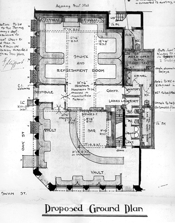Figure 15 – 1911 architectural drawing, The George & Dragon, proposed ground floor
