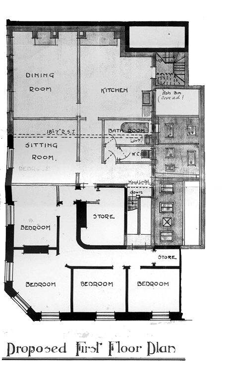 Figure 16 – 1911 architectural drawing, The George & Dragon, proposed first floor