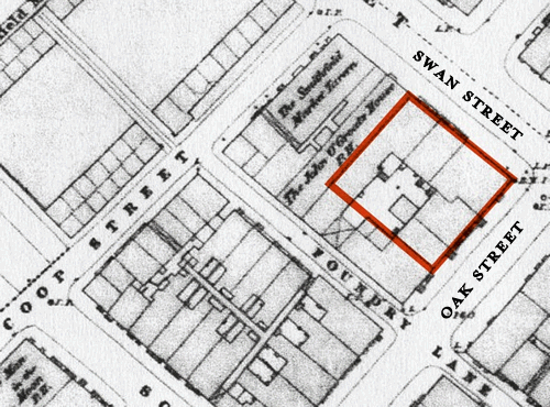 Figure 7 – Detail from Ordnance Survey Map 1850 (Manchester Archives & Local Studiess). Outlined in red is the site of the present Band on the Wall, including The Picturehouse.
