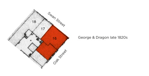 Figure 9 – The first expansion of the George & Dragon, annexing the adjacent vaults in Oak Street