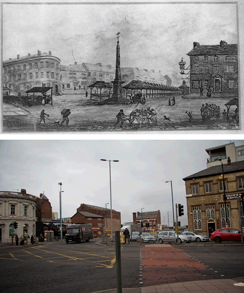 Figure 6 - New Cross: 1820 drawing (top) and 2012 photograph (bottom). Photography by Rosanna Freedman