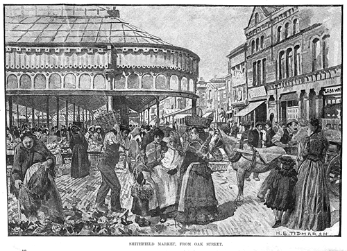 Figure 7 - Smithfield Market in 1880, drawing by Henry Edward Tidmarsh (Manchester Archives & Local Studies). The 'Cocozza Wood' building is visible on the right, also the adjacent Burton Arms.